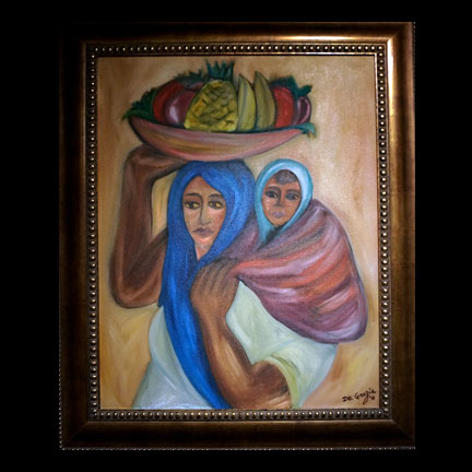 Untitled-Woman Carrying Basket And Child