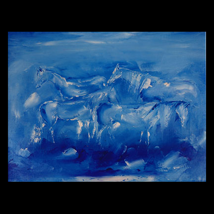 Blue Horses Tile