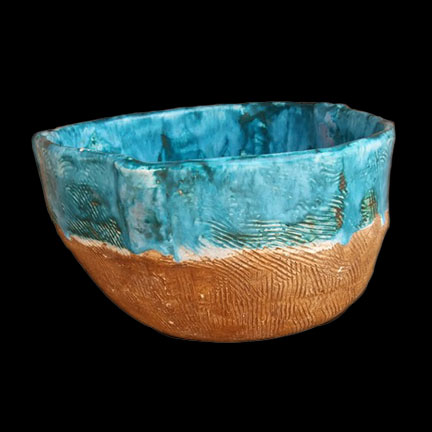 Ceramic Bowl With Combed Texture