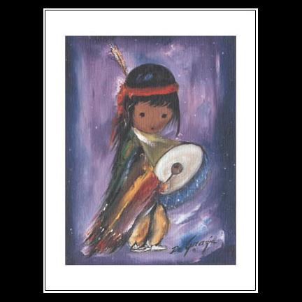 Pima Indian Drummer Boy Notecard