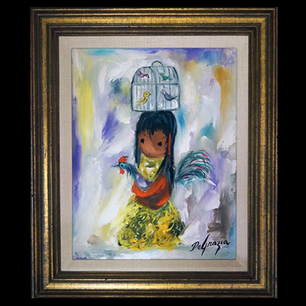 Untitled-Girl With Birdcage & Rooster