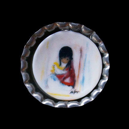 Mini Plate White Dove Necklace