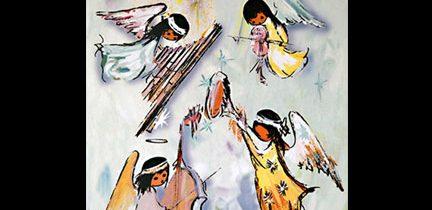 Four Angel Musicians Tile