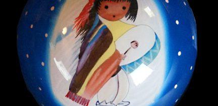 Pima Indian Drummer Boy Glass Candle Pot